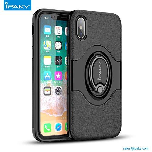 IPAKY Custodia di Protezione per iPhone 5 & iPhone 5S & iPhone Se/Custodia Alta Protezione con Anello Girevole a 360°, Supporto modalità TV (PC Frame+TPU Cover+Metal Ring)