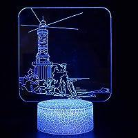 3Dナイトライト 建物 リモコン 寝かしつけランプ 7色変更 調光機能 男の子 女の子 クリスマス 誕生日プレゼント