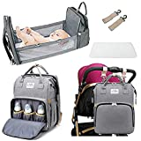 Diaper Bag Backpack with Changing Station,Portable Crib Large Bassinet Travel Bed for Baby