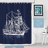 Bonhause Duschvorhang 180 x 180 cm Segelboot Nautische Marineblau Duschvorhänge Anti-Schimmel Wasserdicht Polyester Stoff Waschbar Bad Vorhang für Badzimmer mit 12 Duschvorhangringen