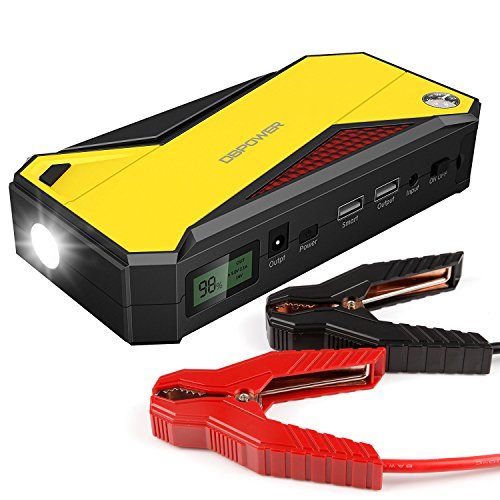 DBPOWER 600A Peak 18000mAh Portable Car Jump Starter (up to 6.5L Gas, 5.2L Diesel Engine) Battery Booster and Phone Charger with Smart Charging Port (Black/Yellow)