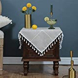 LUCKYHOUSEHOME Cotton Linen Checked Lattice Small Square Tablecloth Embroidery Tassel Table Cover for Home Dinning Tabletop 24x24 Inch, Brown