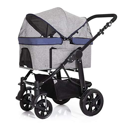 Abnehmbare Pet Carrier Kinderwagen for Hunde und Katzen - 3-in-1 Travel Crate Auto-Sitz Wagen Spaziergänger in einem, (Color : Gray)