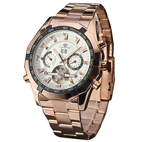 Forsining Herren Armbanduhr, Fashion Business Casual Handaufzug mechanische Uhr mit Edelstahl Armband Bezel Skelett Zifferblatt,colorG