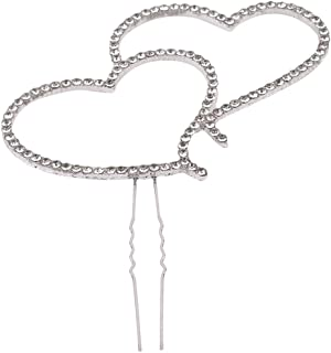 VWH Romantic Crystal Silver Double Heart Cake Topper Wedding Decor Tool