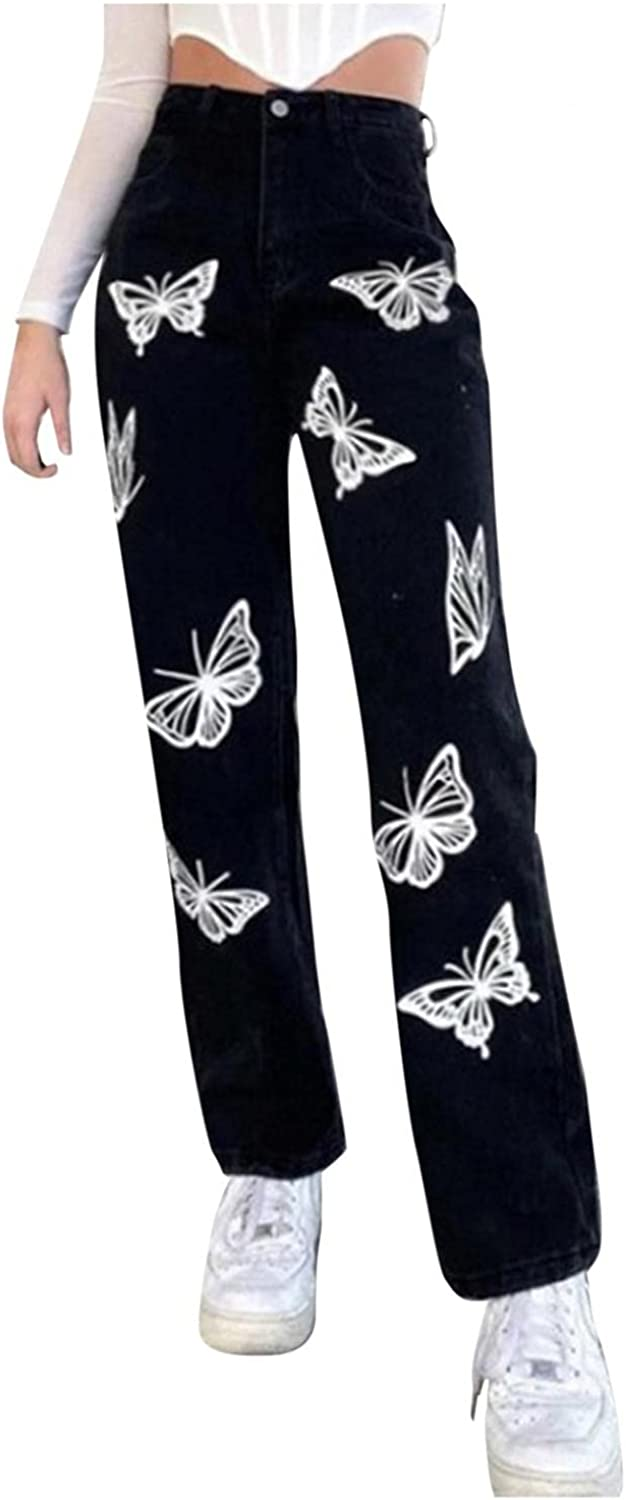 Fudule Y2K Fashion Jeans for Women, Teen Girls Vintage Butterfly Graphic Pants Casual Baggy Trousers Wide Leg Denim Pant