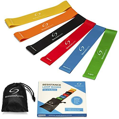 Set aus 4 Fitnessbändern – Gymnastikbänder/Loops für Yoga, Pilates, Reha-Sport Physio-Gymnastik – Für Männer & Frauen – Hergestellt aus natürlichem Latex