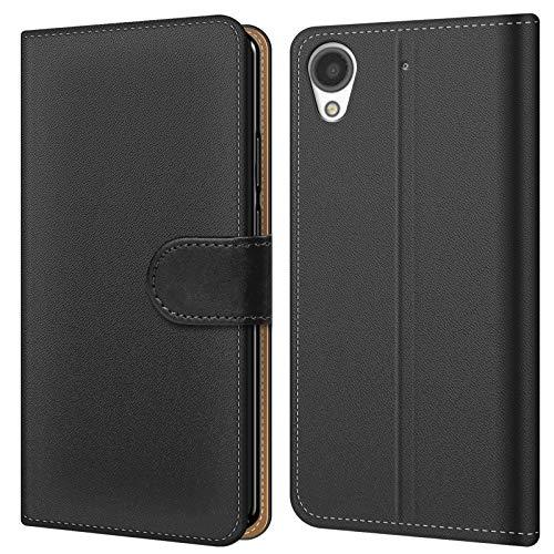 Conie BW5267 Basic Wallet Kompatibel mit HTC Desire 530, Booklet PU Leder Hülle Tasche mit Kartenfächer & Aufstellfunktion für Desire 530 Case Schwarz