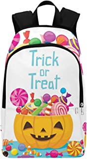 Halloween Pumpkin Bucket Candy Mystery Culture Casual Daypack Travel Bag College School Backpack for Mens and Women