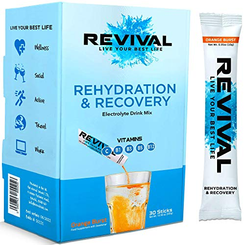 Revival Rapid Rehydration, Electrolytes Powder - High Strength Vitamin C, B1, B3, B5, B12 Supplement Sachet Drink, Effervescent Electrolyte Hydration Tablets - 30 Pack Orange