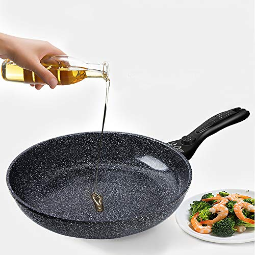 MUYIER Non-Stick Flat Frying Pan, Uncoated Household Wok Easy to Clean Best Nonstick Omelette Skillet Suitable for Gas Electric Induction Stovetop