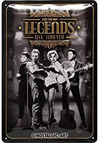 Nostalgic-Art Plaque vintage Legends Live Forever – Idée de cadeau pour les nostalgiques, en métal, Design retro pour la décoration, 20 x 30 cm