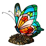 FUMAT Bedside Table Lamp LED E26 Bulb Tiffany Table Lamps Blue Fairy Stained Glass Shade ON Off Switch Desk Lamp Butterfly Night Light…
