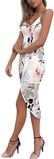 カクテルドレス パーティードレス マキシドレス YOKINO 深い v ネック レディース 上品 花柄 ドレス マキシドレス かわいい ボヘミア ワンピース パーティー お出かけ 海 ビーチ 人気 旅行 ハワイ セクシー (M, ホワイト)