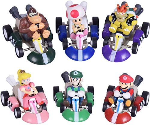 Mario Kart Cars Pull Backs Action Figures (Pack of 6) - Mario Bros Super Mary Princess, Turtle, Mushroom, Orangutan, Super Mary Action Figures