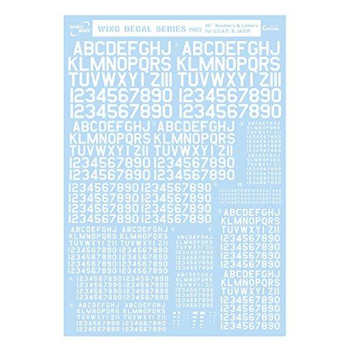 サンコーマーク工業 M02 45度 Numbers&Letters 白 13.5×19.5cm レプトジーダ WING DECAL SERIES WM-05