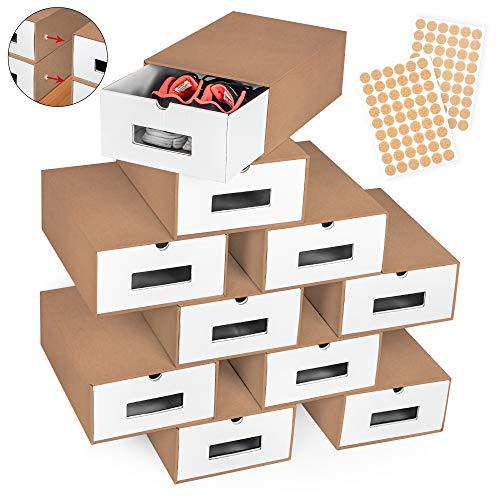 boxelite 10er Braun - Weiß Set Aufbewahrungsbox Schuhkarton mit Sichtfenster Stapelbar Spielzeug-Box Aufbewahrung Organizer Schuhschachtel aus Kraftpapier Pappe Schuhbox Ordnungssystem Schuhregal