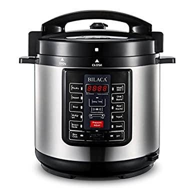 BILACA Electric Pressure Cooker 6 Quart 9-in-1 Multi-Use Programmable Pressure Cooker, Slow Cooker, Rice Cooker, Steamer, Yogurt Maker, Sauté and Warmer, Includes Recipe Book and Steam Rack, 1000W