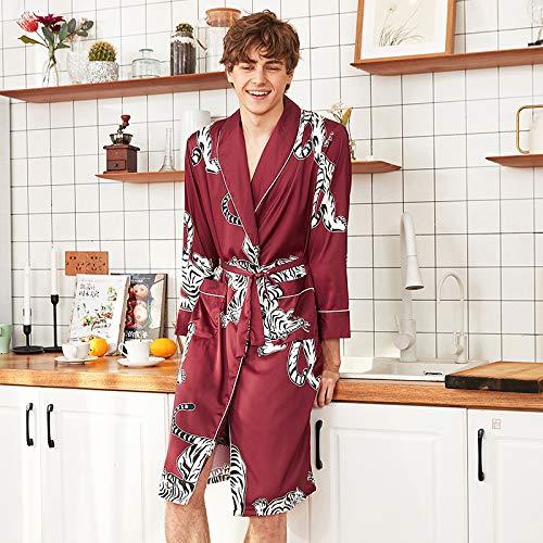 Explosion Style Pyjamas Bademantel Seiden Pyjamas Nachthemd Home Service Weinrot L