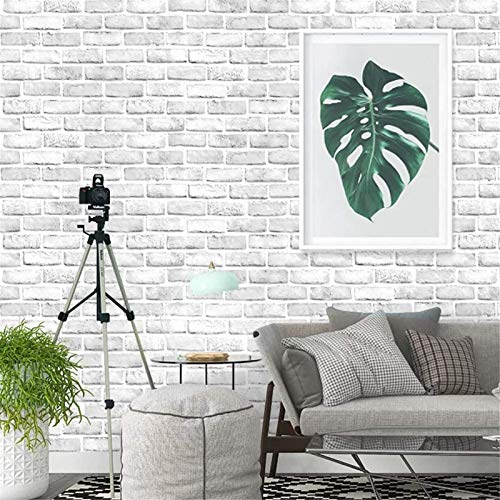 Yancorp White Gray Brick Wallpaper Grey Self-Adhesive Paper Home Decoration Peel and Stick Backsplash Wall Panel Door Christmas Decor (18'x120')
