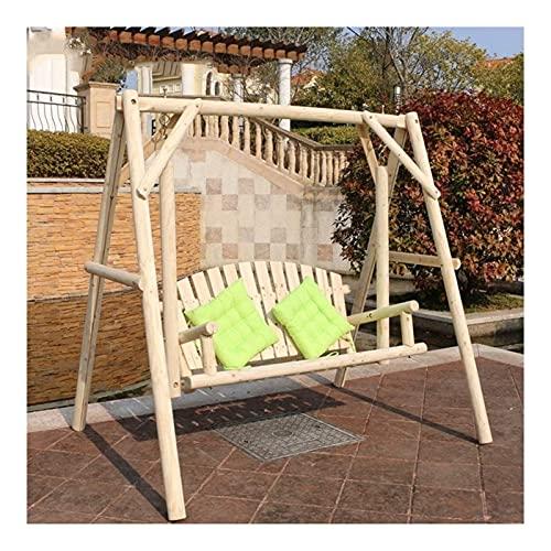Balancín grande para exteriores con soporte, columpio de jardín, silla de columpio exterior, de madera maciza, resistente al agua y anticorrosión, silla mecedora de doble terraza, muebles de patio