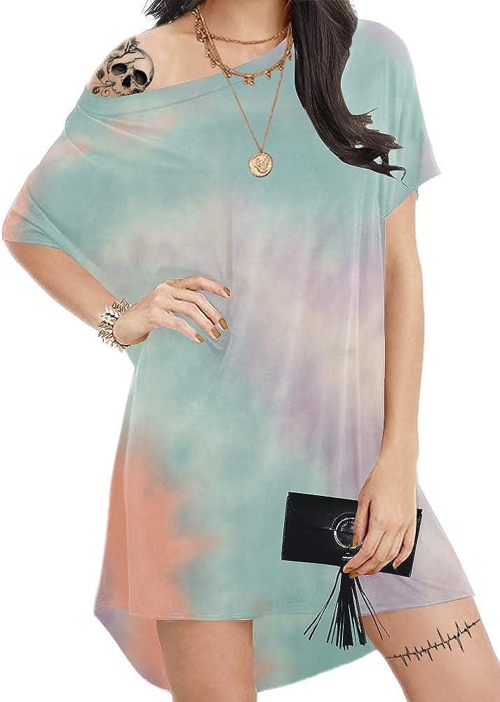 Aksbgg Women's Plus Size Loose T Shirt Home Dress Short Sleeve Casual Mini Dresses Floral Printed Tops Tunics