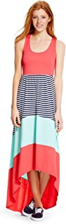 1db52f868589 Mossimo Supply Co Women's Racerback High Low Blazing Coral Striped Maxi  Dress