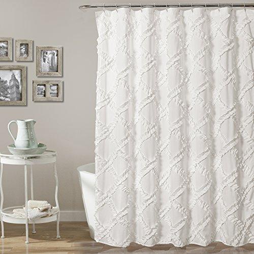 Lush Decor, Duschvorhang mit Rüschen, strukturiert, Shabby-Chic-Stil, 183 x 183 cm, Weiß