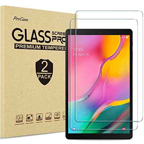 [2 Pack] ProCase Galaxy Tab A 10.1 2019 Screen Protector (Model: T510 / T515 / T517), Tempered Glass Screen Film Guard for 10.1 Inch Samsung Galaxy Tab A Tablet