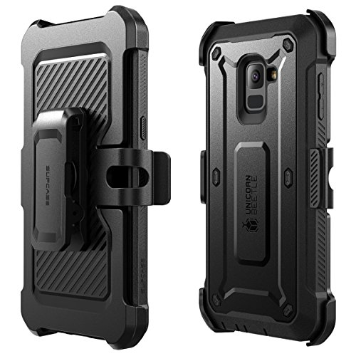 SUPCASE [Unicorn Beetle Pro Case for Galaxy A8 Plus 2018, Rugged Holster Cover with Built-in Screen Protector (Not Compatible with Galaxy A8 2018) (Black)