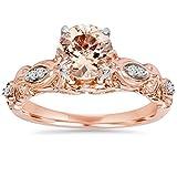 1 Carat Morganite & Diamond Vintage Ring 14K Rose Gold - Size 6.5