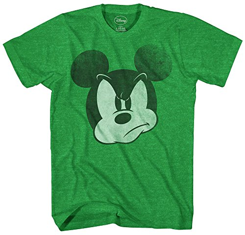 Mad Mickey Mouse Graphic Tee Classic Vintage Disneyland World Mens Adult T-Shirt Apparel (Medium, Heather Green)