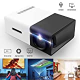 Genmaisima Tragbarer Mini-Vollfarb-LED-Projektor für Kindergeschenk, Videofilm, Party Game, Unterhaltung im Freien mit HDMI-USB-AV-Schnittstellen und Fernbedienung,Black