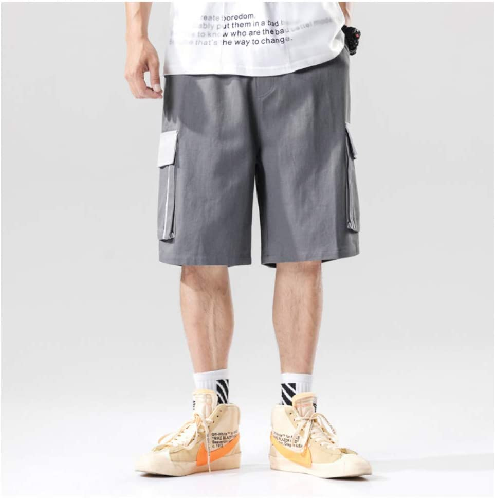 Short Harem Cargo Short Homme d'été Hommes Color Block Multi Poches Cargo Baggy Shorts Hommes Hip Hop Streetwear Casual Short Pants Summer Male Shorts Men D-Gray