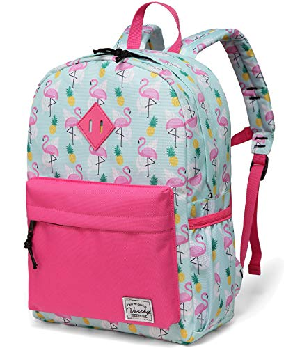 VASCHY Kids School Bag, Flamingos Toddler Backpack for Girls Cute Preschool Backpack with Side Pockets