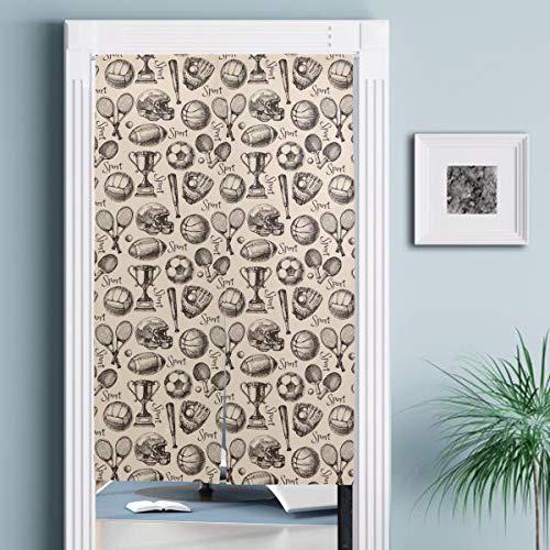 JISMUCI Vorhänge für Türen,Hand gezeichnete Skizze Sport nahtloses Muster mit Bällen,Türvorhang Für die Küche Wohnzimmer Schlafzimmer