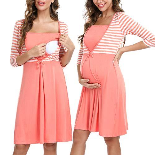Irevial Camison Lactancia de Algodon Manga Larga Pijama Embarazada Suave Maternidad Vestidos Ropa de Dormir Premamá Hospital