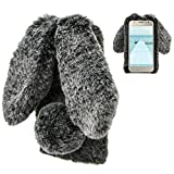 LCHDA Samsung Galaxy J3 2018 Rabbit Case,Samsung Galaxy J3 2018 Rabbit Fur Case Bunny Ear Phone Case for Girls Fuzzy Cute Warm Winter Soft Furry Fluffy Ball Fur Hair Plush Protective Cover-Black
