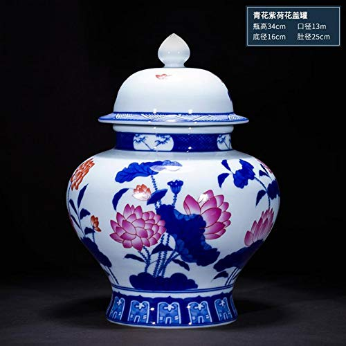 MESYR Keramik Keramikvase Antike Imitation Qianlong Vase Blaue und weiße Glasur Rotes Tempelglas Chinesische Wohnzimmerdekoration Vase