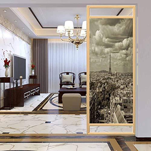 Vinilo adhesivo 3D para ventana de París con Eiffel y nublado oscuro, adhesivo estático para ventana para hogar y oficina, 35.4 x 78.7 pulgadas