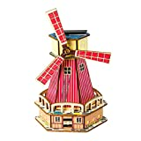 3D Wooden Puzzle Solar Energy Powered Dutch Windmill Mechanical Models Colorful DIY Assembly Toy,Mechanical Gears Constructor Kits,Wood Craft Birthday Gifts for Adults & Teens