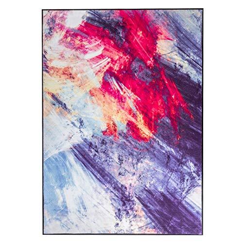 PU Zuhause Wohnzimmer Teppich, Familie Wohnzimmer Couchtisch Sofakissen Landschaft Muster Modern Minimalistisch weich und bequem Rutschfest Dauerhafte Wohnzimmer Sofa Kaffeetisch Matte Einfache Persö