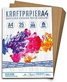 25 Blatt Kraftpapier A4-300 g - 21 x 29,7 cm - EXAKTES DIN Format - Bastelpapier & Naturkarton Pappe...