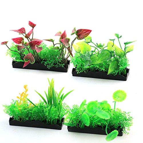 sourcing map 4 Stück Aquarium Aquarium Kunststoff Künstliche Wasser Landschaft Ornament Pflanze Mehrfarbig