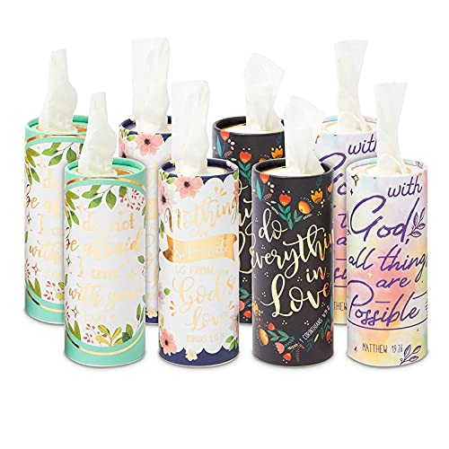 Cylinder Tissue Boxes, 400 Wipes, Religious Quotes (8 Pack)