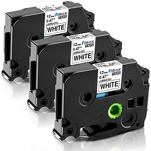 Nastro Etichette Fimax Compatibile In sostituzione di Brother P-touch TZe-231 12mm 0.47 Nero su Bianco Laminato Tape Cassetta per Ptouch PT-H107B H105 H100LB H100R 1000 H110