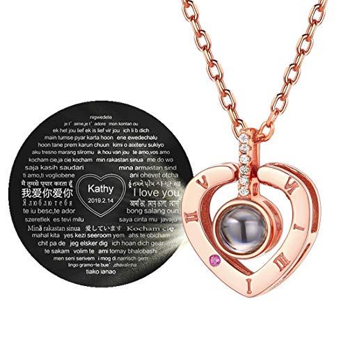 ChicSilver Corazón Rosado Plata de Ley 925 100 Idiomas Te Quiero Collar de Amor Ocultado Joyería Romántica para Boda y Compromiso