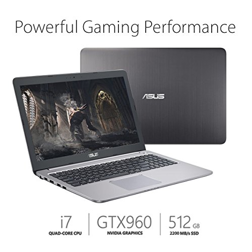 ASUS K501UW-AB78 15.6-inch Full-HD Gaming Laptop (Intel Core i7, GTX 960M, 8GB DDR4, 512GB SSD) Glacier Grey