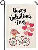 Atenia Burlap Valentines Love Bicycle Hearts Garden Flag, Double Sided Garden Outdoor Yard Flags for Garden Decor (Garden Size - 12.5X18)