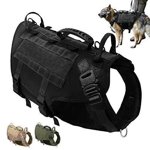 PET ARTIST K9 Hundegeschirr für mittelgroße und große Hunde, zum Wandern, kein Ziehen an der Vorderseite, Molle-Weste für Hunde, Schwarz, L(Chest 65-100cm)